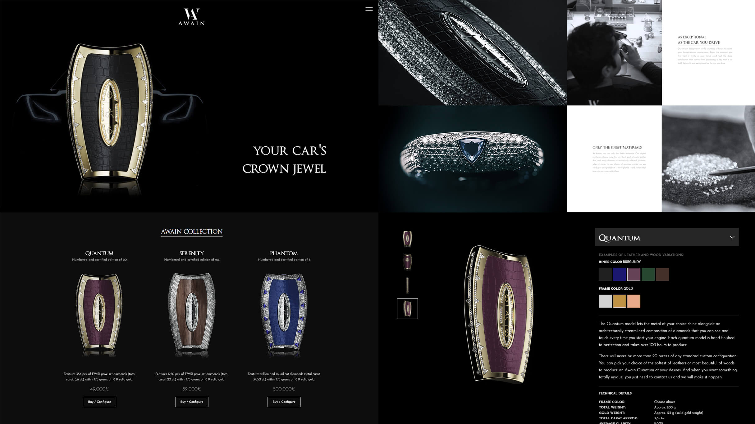Website for Awain, with product configurator from 3D model renders.